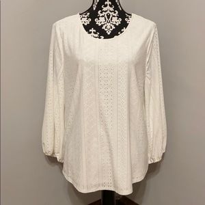 Adrianna Papell Knit Eyelet Top NWT